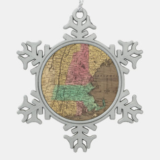 Vintage Map of New England (1836) Snowflake Pewter Christmas Ornament