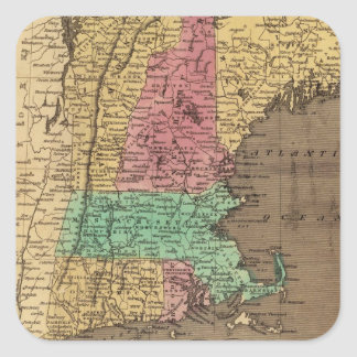 Vintage Map of New England (1836) Square Sticker