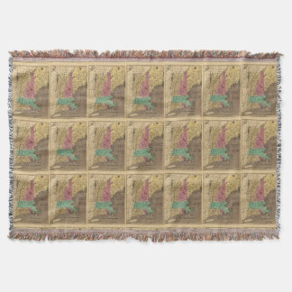Vintage Map of New England (1836) Throw Blanket