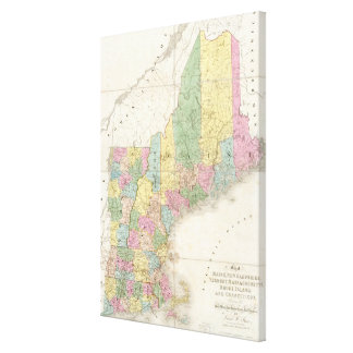 Vintage Map of New England (1839) Canvas Print