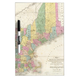 Vintage Map of New England (1839) Dry-Erase Boards
