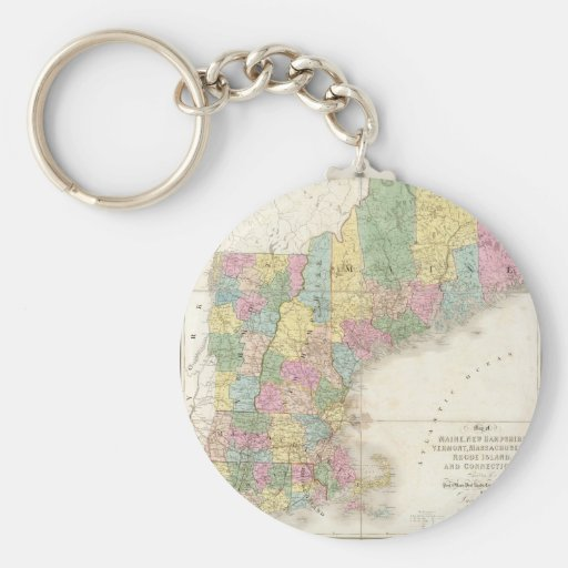 Vintage Map of New England (1839) Key Chain