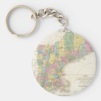 Vintage Map of New England (1839) Keychain