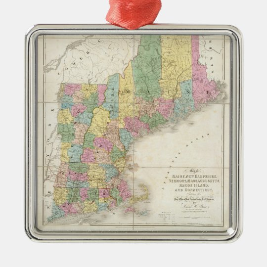Vintage Map of New England (1839) Metal Ornament