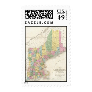Vintage Map of New England (1839) Stamp