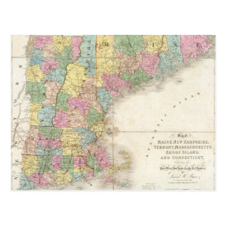 Vintage Map of New England (1839) Postcards