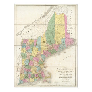 Vintage Map of New England (1839) Postcard