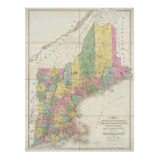 Vintage Map of New England (1839) Poster