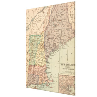 Vintage Map of New England (1880) Canvas Print
