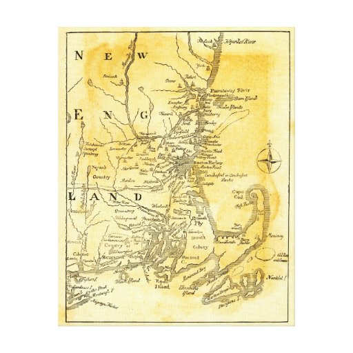 Vintage Map of New England Canvas Prints