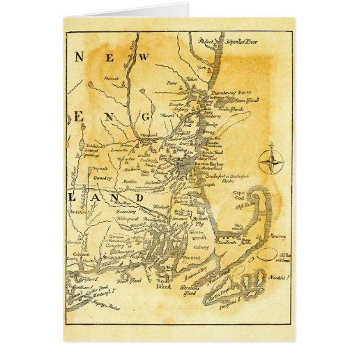 Vintage Map of New England Cards