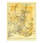 Vintage Map of New England Post Card