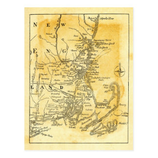 Vintage Map of New England Postcard