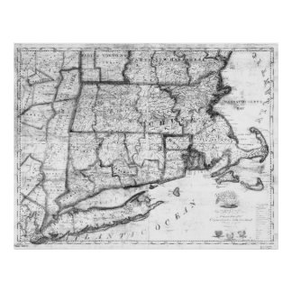 Vintage Map of New England States (1843) BW Poster