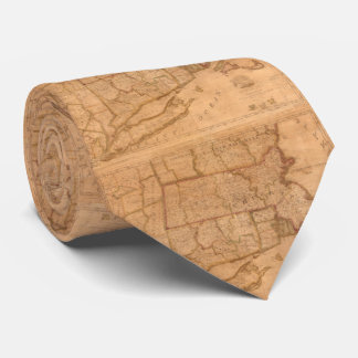 Vintage Map of New England States (1843) Neck Tie