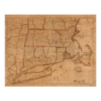 Vintage Map of New England States (1843) Poster