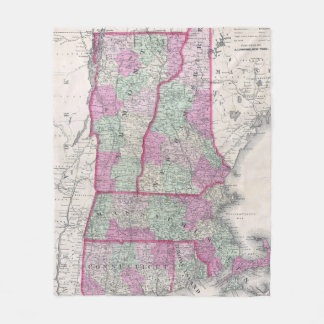 Vintage Map of New England States (1864) Fleece Blanket