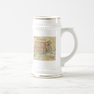 Vintage Map of New England States (1900) Beer Stein