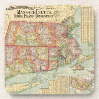 Vintage Map of New England States (1900) Beverage Coaster