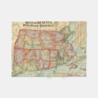 Vintage Map of New England States (1900) Fleece Blanket