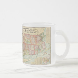 Vintage Map of New England States (1900) Frosted Glass Coffee Mug