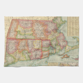 Vintage Map of New England States (1900) Hand Towels