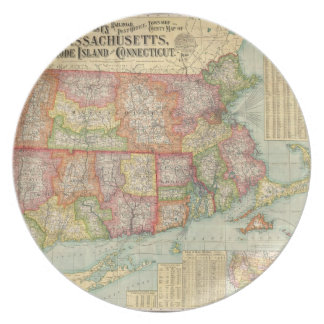 Vintage Map of New England States (1900) Melamine Plate