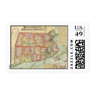 Vintage Map of New England States (1900) Stamps