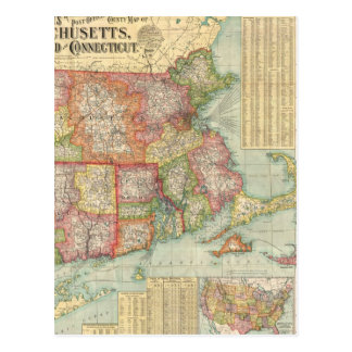 Vintage Map of New England States (1900) Postcard
