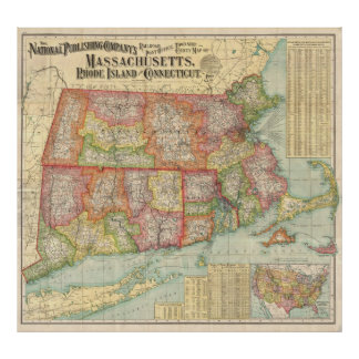 Vintage Map of New England States (1900) Poster