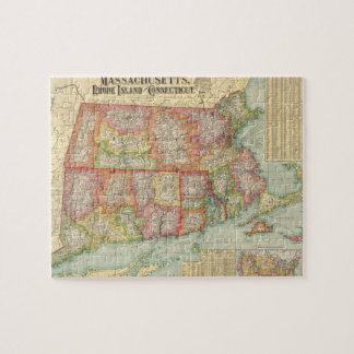 Vintage Map of New England States (1900) Jigsaw Puzzle