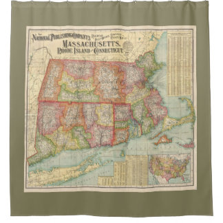 Vintage Map of New England States (1900) Shower Curtain