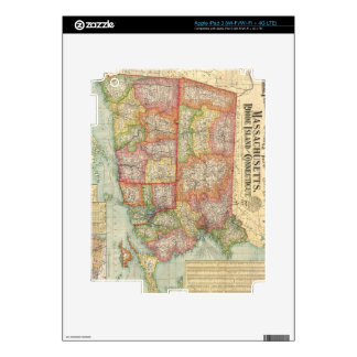 Vintage Map of New England States (1900) Decals For iPad 3
