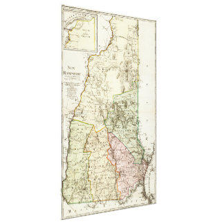Vintage Map of New Hampshire (1796) Canvas Print