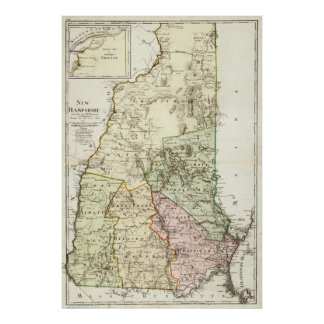 Vintage Map of New Hampshire (1796) Poster