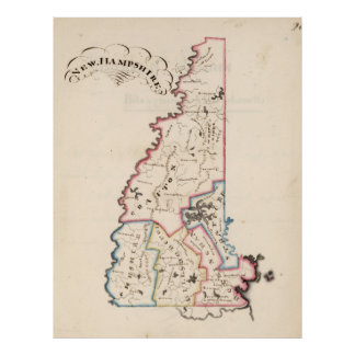 Vintage Map of New Hampshire (1819) Poster