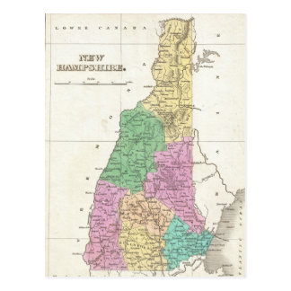 Vintage Map of New Hampshire (1827) Postcard