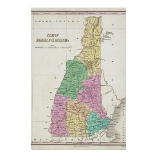 Vintage Map of New Hampshire (1827) Print