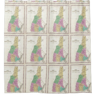 New Hampshire Map Shower Curtains