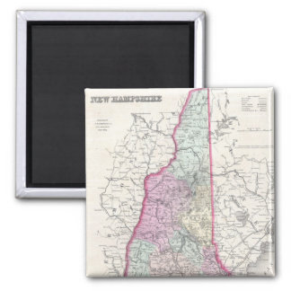 Vintage Map of New Hampshire (1855) 2 Inch Square Magnet