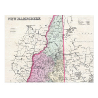 Vintage Map of New Hampshire (1855) Postcard