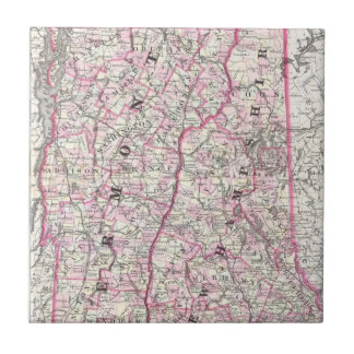 Vintage Map of New Hampshire and Vermont (1861) Ceramic Tile