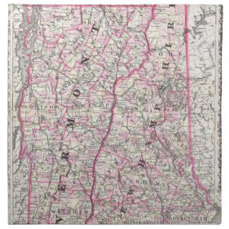 Vintage Map of New Hampshire and Vermont (1861) Cloth Napkin