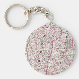 Vintage Map of New Hampshire and Vermont (1861) Keychain