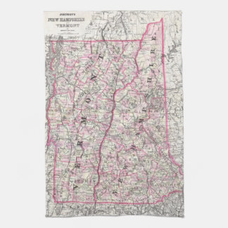 Vintage Map of New Hampshire and Vermont (1861) Kitchen Towel