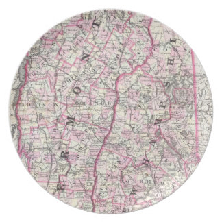 Vintage Map of New Hampshire and Vermont (1861) Melamine Plate