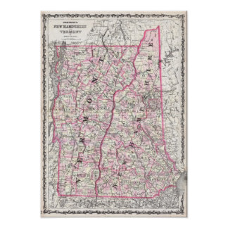 Vintage Map of New Hampshire and Vermont (1861) Poster