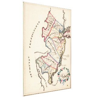 Vintage Map of New Jersey (1819) Canvas Print