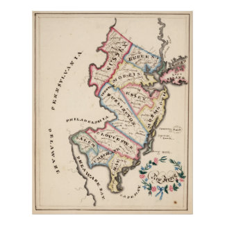 Vintage Map of New Jersey (1819) Poster