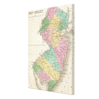 Vintage Map of New Jersey (1827) Canvas Print